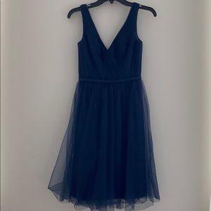 Navy blue Vera Wang WHITE chiffon and lace dress